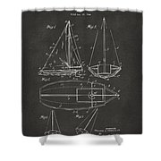 1948 Sailboat Patent Artwork - Gray Shower Curtain