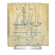 1948 Sailboat Patent Artwork - Vintage Shower Curtain by Nikki Marie Smith