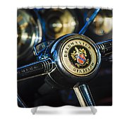 1949 Buick Roadmaster Riviera Coupe Steering Wheel Emblem Shower Curtain