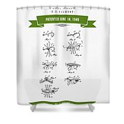 1949 Fish Lure Patent Drawing - Retro Green Shower Curtain