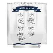 1949 Fish Lure Patent Drawing - Retro Navy Blue Shower Curtain