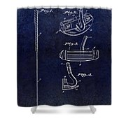 1949 Golf Putter Patent Drawing Blue Shower Curtain