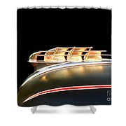 1949 Plymouth Schooner Hood Ornament Shower Curtain by Renee Trenholm