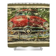 1949 Red Ford Coupe Shower Curtain