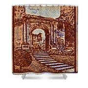 1949 San Francisco Ruins Dominican Republic Stamp Shower Curtain