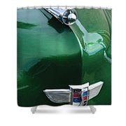 1949 Studebaker Champion Hood Ornament Shower Curtain by Jill Reger