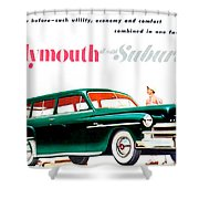 1950 - Plymouth Suburban Station Wagon Automobile Advertisement - Color Shower Curtain