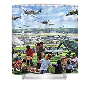1950 Airshow Shower Curtain