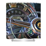 1950 Chrysler New Yorker Coupe Steering Wheel Emblem Shower Curtain by Jill Reger