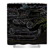 1950 Ford Coupe Neon Glow Shower Curtain