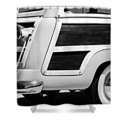 1950 Ford Custom Deluxe Station Wagon Rear End - Woodie Shower Curtain by Jill Reger