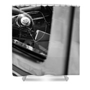 1950 Ford Custom Deluxe Woodie Station Wagon Steering Wheel Emblem Shower Curtain