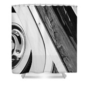 1950 Ford Custom Deluxe Woodie Station Wagon Wheel Shower Curtain by Jill Reger