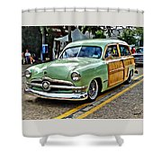 1950 Ford Deluxe Woody Station Wagon Shower Curtain