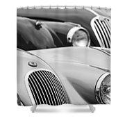 1950 Jaguar Xk120 Roadster Grille 2 Shower Curtain by Jill Reger