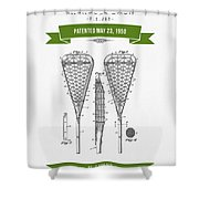 1950 Lacrosse Stick Patent Drawing - Retro Green Shower Curtain