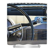 1950 Oldsmobile Rocket 88 Steering Wheel 3 Shower Curtain by Jill Reger