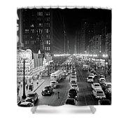 1950s 1953 Night Scene Of Chicago State Shower Curtain