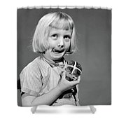 1950s 1960s Blonde Girl Licking Shower Curtain