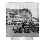 1950s 1960s Propeller Airplane Shower Curtain