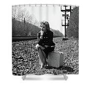 1950s 1960s Woman Sad Worried Facial Shower Curtain