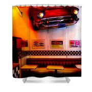 1950s American Diner - Featured In Vehicle Enthusiasts Shower Curtain