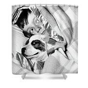 1950s Boy Hiding Under Blanket In Bed Shower Curtain