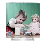 1950s Little Girl Toddler And Baby Doll Shower Curtain