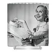 1950s Proud Smiling Woman Housewife Shower Curtain