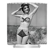 1950s Smiling Young Woman Kneeling Shower Curtain