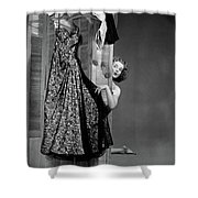 1950s Woman Peeking From Behind Screen Shower Curtain