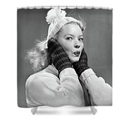 1950s Young Woman Pursing Lips Hands Shower Curtain