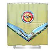 1951 Chrysler New Yorker Convertible Emblem Shower Curtain by Jill Reger