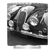1951 Jaguar Xk120 In Black And White Shower Curtain