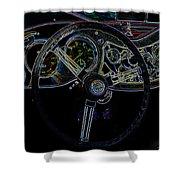 1951 Mg Td Dashboard_neon Car Art Shower Curtain