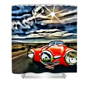 1951 Red Studebaker Shower Curtain