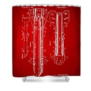 1953 Aerial Missile Patent Red Shower Curtain by Nikki Marie Smith