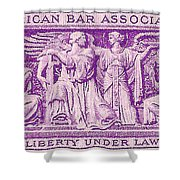 1953 American Bar Association Postage Stamp Shower Curtain