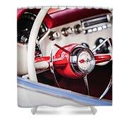 1953 Chevrolet Corvette Steering Wheel Emblem -1400c Shower Curtain
