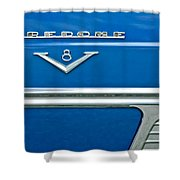 1953 Desoto Firedome Convertible Side Emblem Shower Curtain