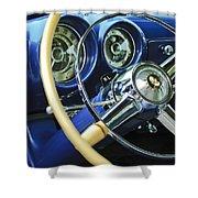 1953 Desoto Firedome Convertible Steering Wheel Emblem Shower Curtain