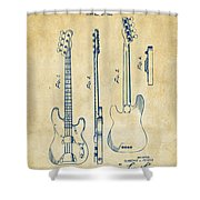 1953 Fender Bass Guitar Patent Artwork - Vintage Shower Curtain