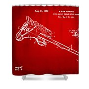 1953 Horse Toy Patent Artwork Red Shower Curtain by Nikki Marie Smith