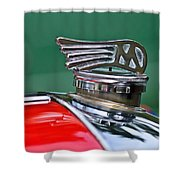 1953 Morgan Plus 4 Le Mans Tt Special Hood Ornament Shower Curtain by Jill Reger