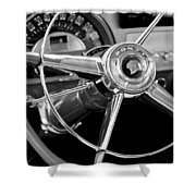 1953 Pontiac Steering Wheel 2 Shower Curtain