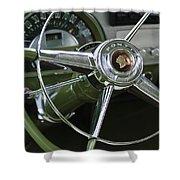 1953 Pontiac Steering Wheel Shower Curtain by Jill Reger