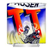 1954 - Assen Tt Motorcycle Poster - Color Shower Curtain