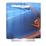 1954 Cadillac Coupe Deville Wheel Emblem - Hood Ornament Shower Curtain