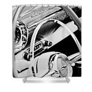 1954 Chevrolet Belair Steering Wheel Emblem -1535bw Shower Curtain