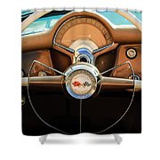 1954 Chevrolet Corvette Convertible  Steering Wheel Shower Curtain by Jill Reger